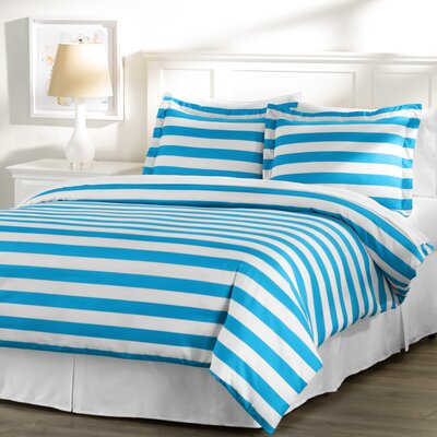 Wayfair Basics 3 Piece Striped Down Alternative Duvet Cover Set Size: Full / Queen, Color: White / Blue