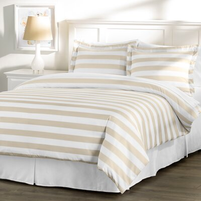 Wayfair Basics 3 Piece Striped Down Alternative Duvet Cover Set Size: Full / Queen, Color: White / Taupe