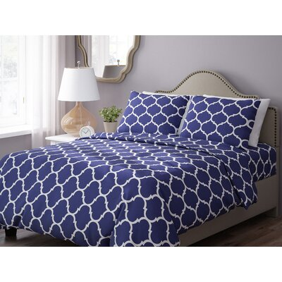 Wayfair Basics 3 Piece Geometric Down Alternative Duvet Cover Set Color: Navy / White, Size: King