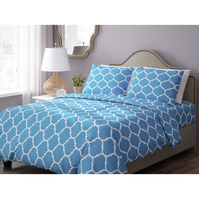 Wayfair Basics 3 Piece Geometric Down Alternative Duvet Cover Set Size: King, Color: Blue / White