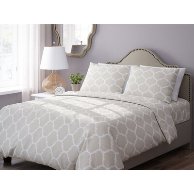Wayfair Basics 3 Piece Geometric Down Alternative Duvet Cover Set Size: Twin, Color: Taupe / White