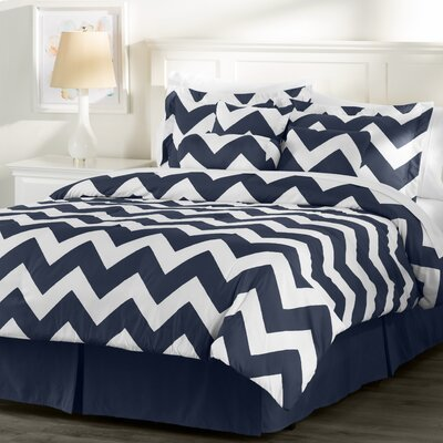 Wayfair Basics 7 Piece Chevron Comforter Set Color: White / Navy, Size: Queen