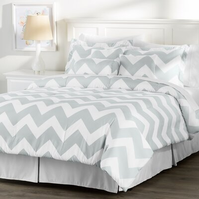 Wayfair Basics 7 Piece Chevron Comforter Set Size: Queen, Color: White / Grey