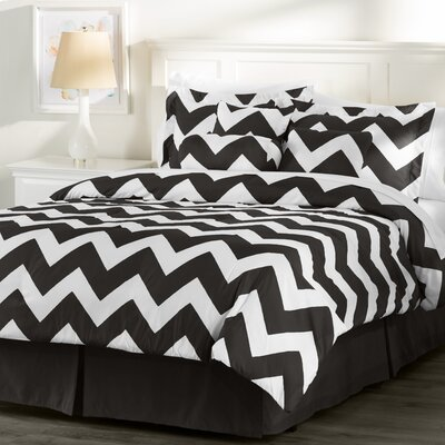 Wayfair Basics 7 Piece Comforter Set Size: King, Color: White / Black