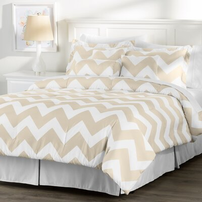 Wayfair Basics 7 Piece Chevron Comforter Set Size: Twin, Color: White / Taupe