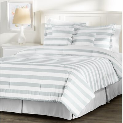 Wayfair Basics 7 Piece Striped Comforter Set Size: Queen, Color: White / Grey
