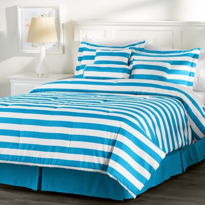 Wayfair Basics 7 Piece Striped Comforter Set Size: King, Color: White / Blue