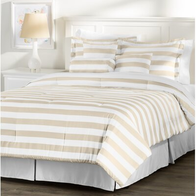 Wayfair Basics 7 Piece Striped Comforter Set Size: Queen, Color: White / Taupe