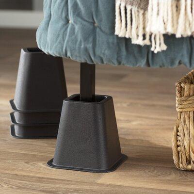 Wayfair Basics 4 Piece Bed Risers Set Color: Black