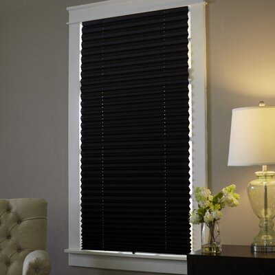 Wayfair Basics Room Darkening Pleated Shade Size: 36 W x 75 L x 1 D, Color: Black