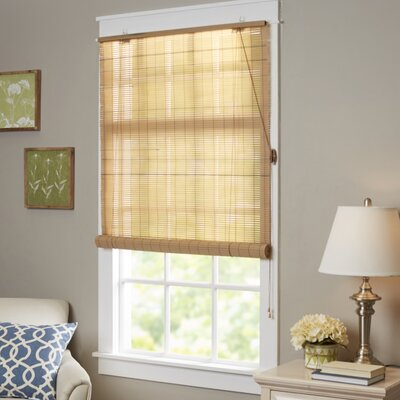 Semi-Sheer Roller Shade Color: Woodtone, Size:  48 W x 72 L