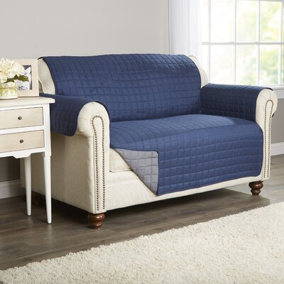 Wayfair Basics Box Cushion Loveseat Slipcover Color: Navy