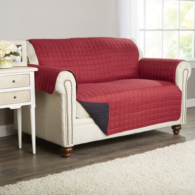 Wayfair Basics Box Cushion Loveseat Slipcover Color: Burgundy