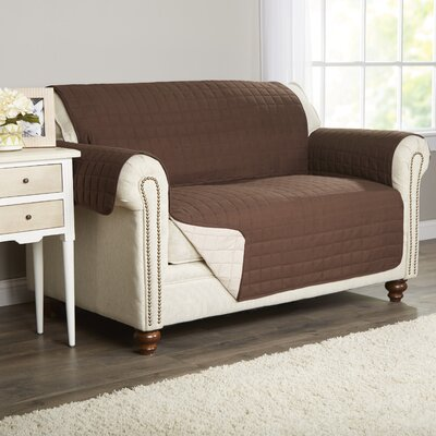 Wayfair Basics Box Cushion Loveseat Slipcover Color: Brown