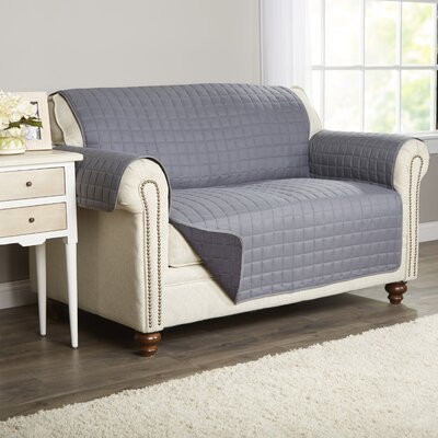 Wayfair Basics Box Cushion Loveseat Slipcover Color: Gray