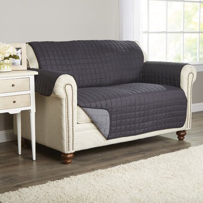 Wayfair Basics Box Cushion Loveseat Slipcover Color: Black