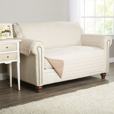 Wayfair Basics Box Cushion Loveseat Slipcover Color: Beige