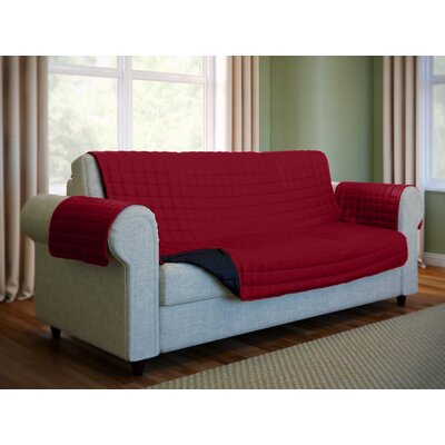 Wayfair Basics Box Cushion Sofa Slipcover Color: Burgundy