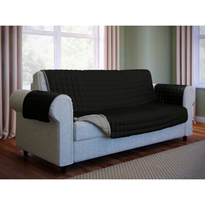 Wayfair Basics Microfiber Sofa Slipcover Color: Black