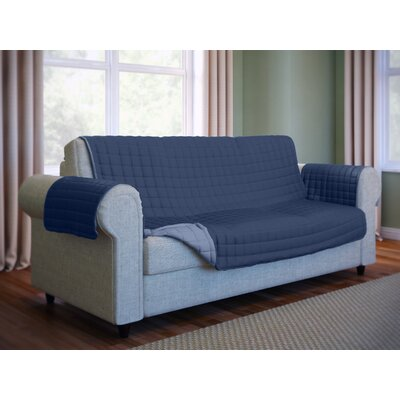 Wayfair Basics Microfiber Sofa Slipcover Color: Navy