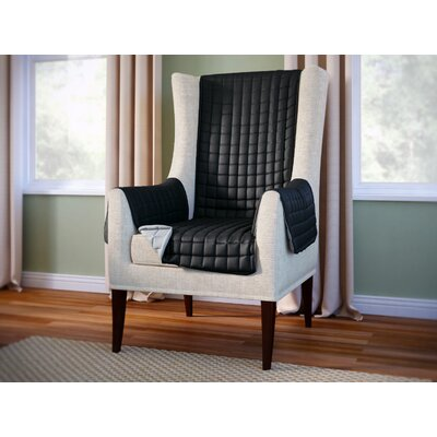 Wayfair Basics Box Cushion Wingback Slipcover Color: Black