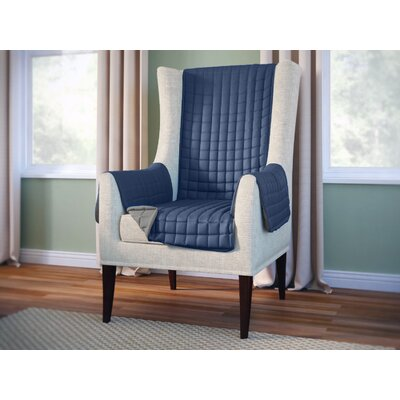 Wayfair Basics Box Cushion Wingback Slipcover Color: Navy