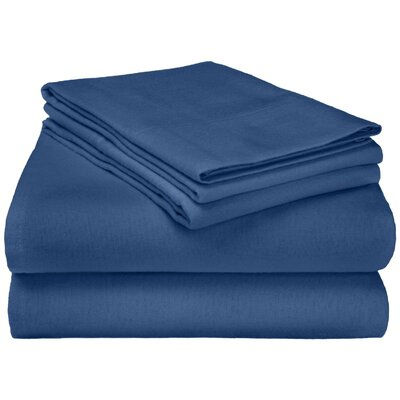 Wayfair Basics Flannel Sheet Set Color: Navy Solid, Size: Twin