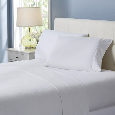 Wayfair Basics Flannel Sheet Set Color: White Solid, Size: Queen