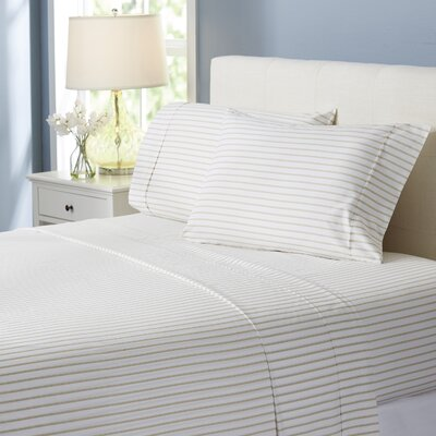 Wayfair Basics Striped 4 Piece Sheet Set Size: Twin, Color: Beige