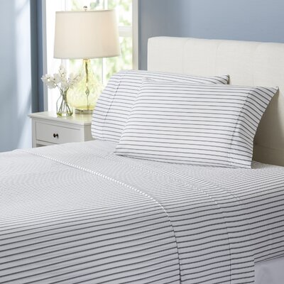 Wayfair Basics Striped 4 Piece Sheet Set Size: Full, Color: Light Gray