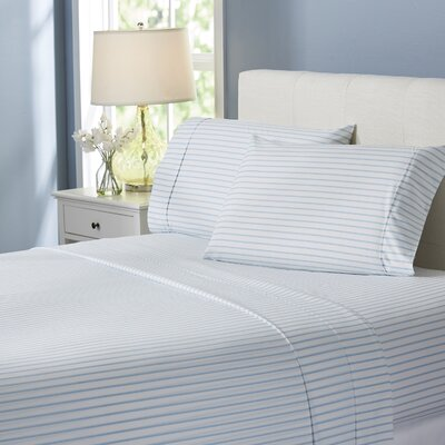 Wayfair Basics Striped 4 Piece Sheet Set Size: Full, Color: Light Blue