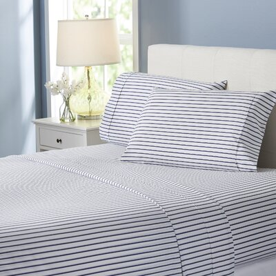 Wayfair Basics Striped 4 Piece Sheet Set Size: King, Color: Navy
