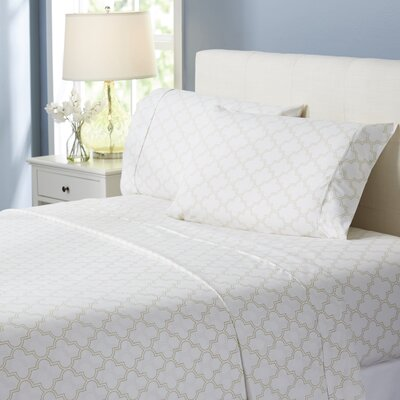 Wayfair Basics Trellis 4 Piece Sheet Set Size: Twin, Color: Beige
