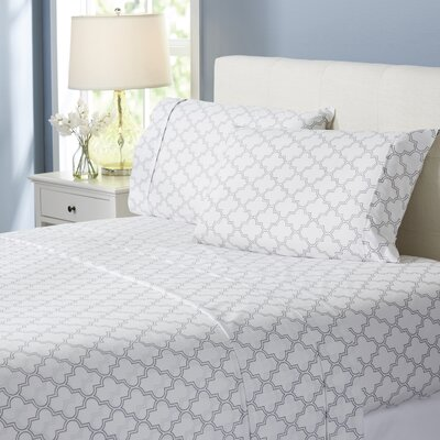 Wayfair Basics Trellis 4 Piece Sheet Set Size: King, Color: Gray