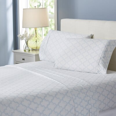 Wayfair Basics Trellis 4 Piece Sheet Set Size: King, Color: Light Blue