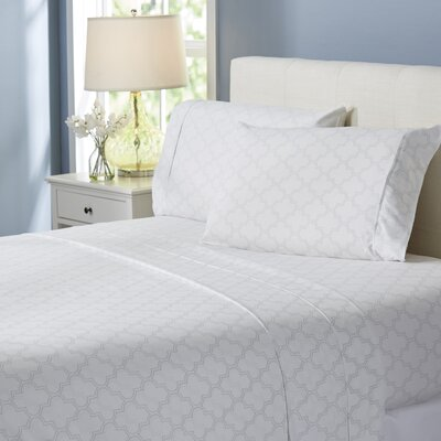 Wayfair Basics Trellis 4 Piece Sheet Set Size: King, Color: Light Gray