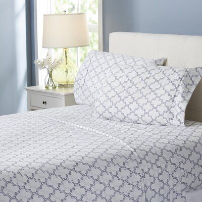 Wayfair Basics Trellis 4 Piece Sheet Set Size: King, Color: Navy