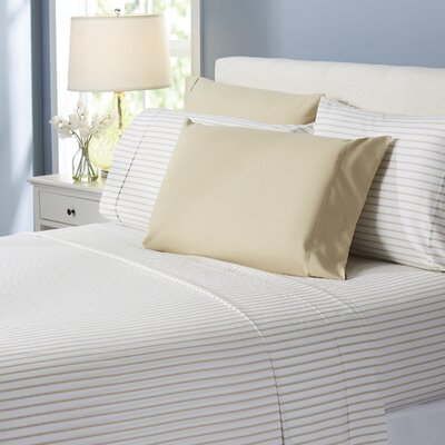 Wayfair Basics Lines 6 Piece Sheet Set Size: Full, Color: Beige