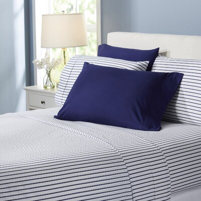 Wayfair Basics Striped 6 Piece Sheet Set Size: King, Color: Navy Blue
