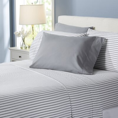 Wayfair Basics Lines 6 Piece Sheet Set Size: Queen, Color: Gray