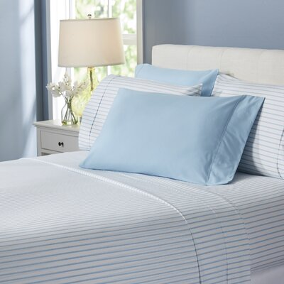 Wayfair Basics Lines 6 Piece Sheet Set Size: Full, Color: Light Blue