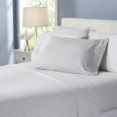 Wayfair Basics Lines 6 Piece Sheet Set Size: Full, Color: Light Gray