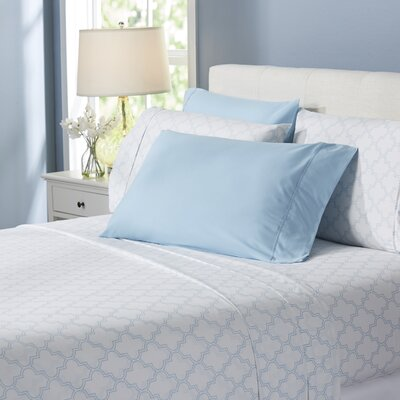 Wayfair Basics Trellis 6 Piece Sheet Set Size: Queen, Color: Light Blue