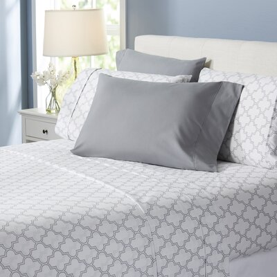 Wayfair Basics Trellis 6 Piece Sheet Set Size: Queen, Color: Gray