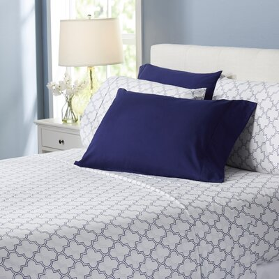 Wayfair Basics Trellis 6 Piece Sheet Set Size: King, Color: Navy Blue