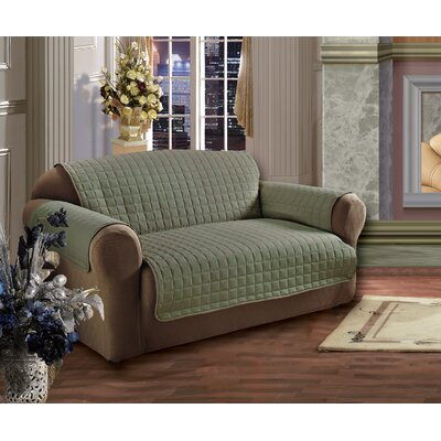Wayfair Basics Box Cushion Loveseat Slipcover Color: Green