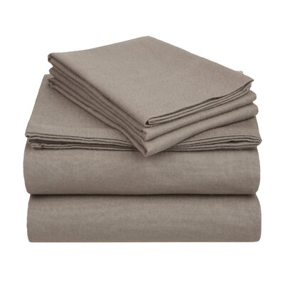 Wayfair Basics Flannel Sheet Set Color: Grey Solid, Size: Full