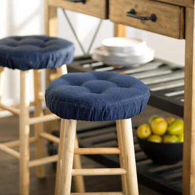 Wayfair Basics Tufted Gripper Barstool Cushion Set Color: Indigo