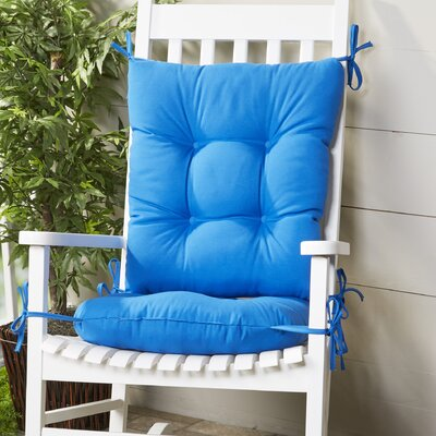 Wayfair Basics Outdoor 2 Piece Rocking Chair Cushion Set Fabric: Marine Blue