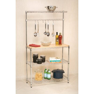 Wayfair Basics Bakers Rack Workstation with Rubberwood Top